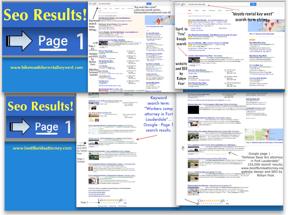 SEO results on Google page 1